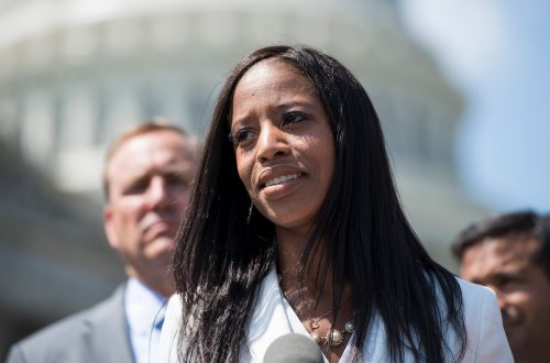 Mia Love at a news conference in D.C. in May 2018