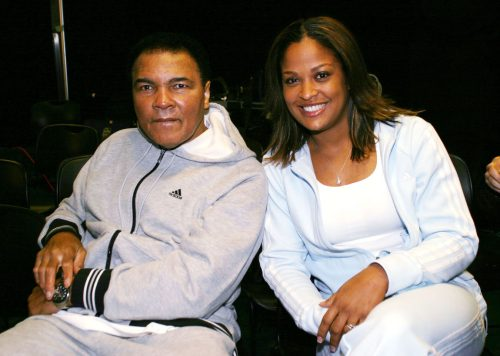 """Muhammad and Laila Ali launching Adidas """"Unimpossible"""" campaign in February 2004"""