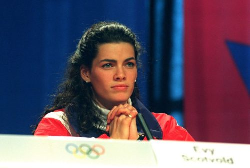 Nancy Kerrigan during a press conference at the 1994 Olympics