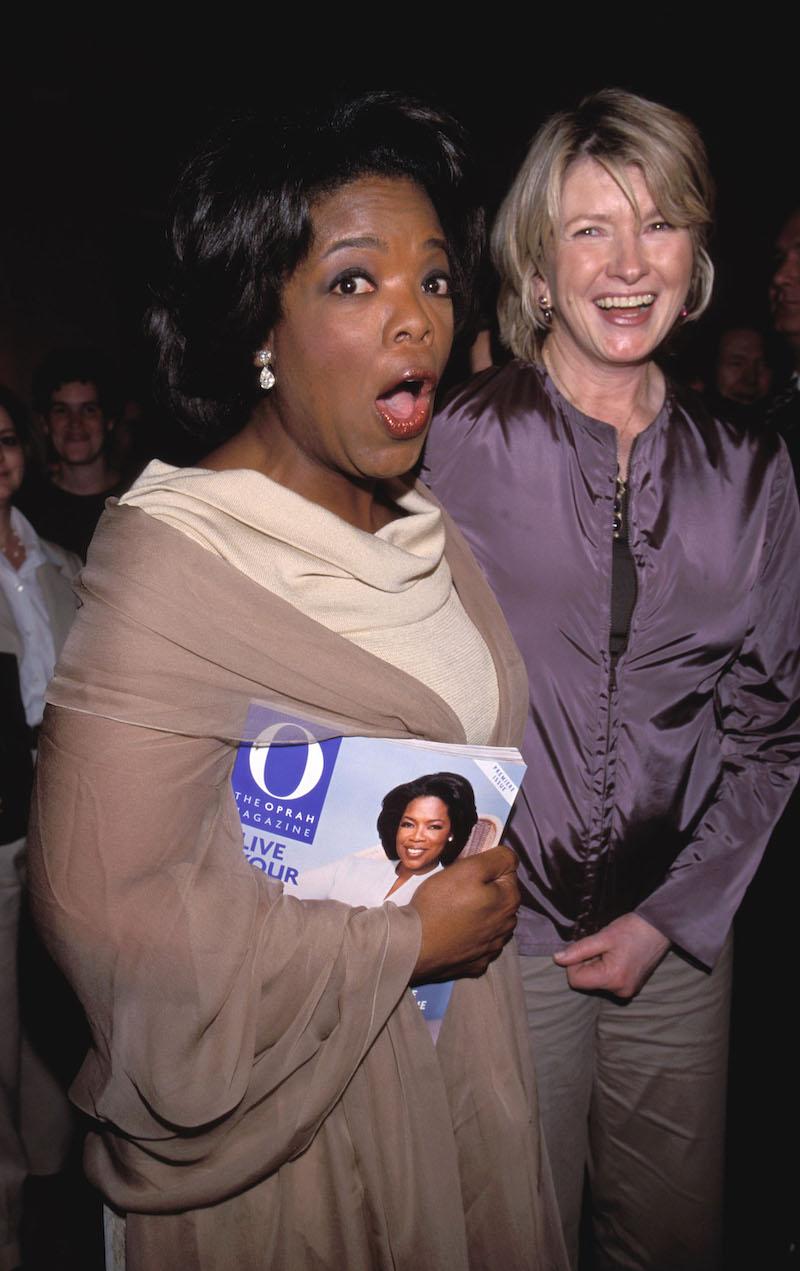 Oprah Winfrey and Martha Stewart at Winfrey's magazine launch party in 2000.