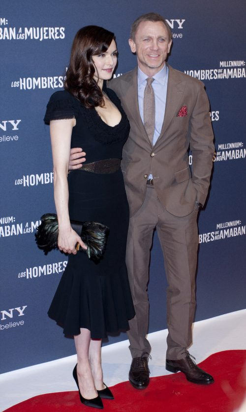 """Rachel Weisz and Daniel Craig at the premiere of """"The Girl with the Dragon Tattoo"""" in Madrid, Spain in 2012"""