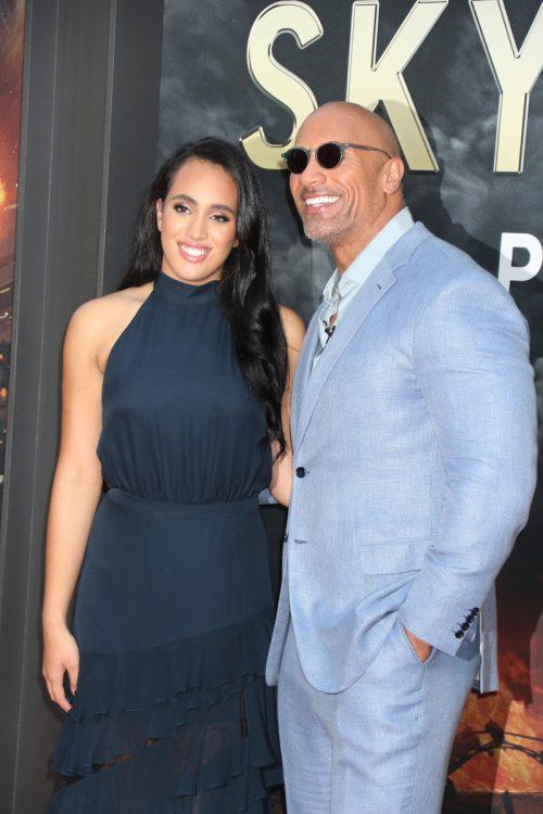 "Simone and Dwayne Johsnson at the premiere of ""Skyscraper"" in 2018"