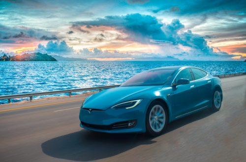 a blue Tesla Model S