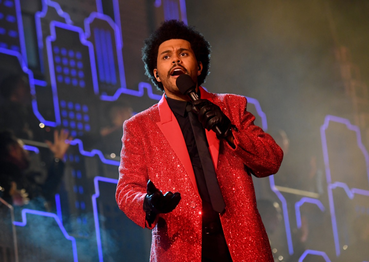 The Weeknd performing at the 2021 Super Bowl