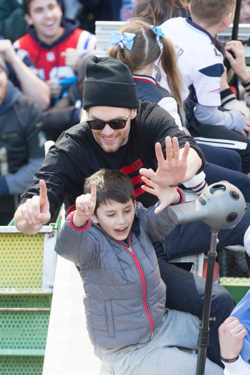 Tom Brady and son Benjamin during the New England Patriots Super Bowl victory parade in February 2019