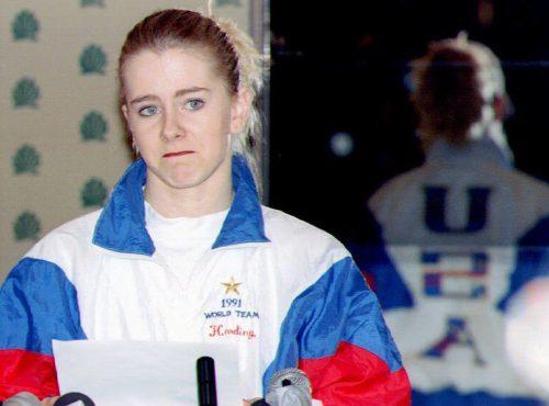 Tonya Harding reading a statement in January 1994