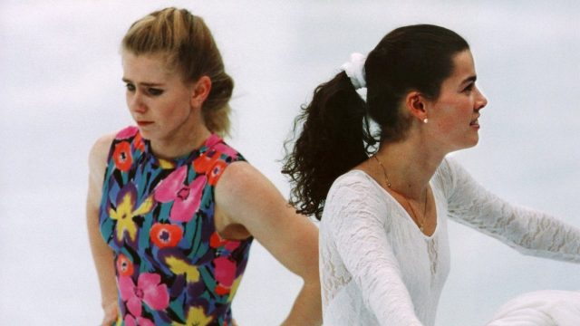 Tonya Harding and Nancy Kerrigan during Olympic training in 1994
