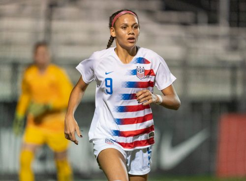 Trinity Rodman during a USWNT U-20 game with France in 2019