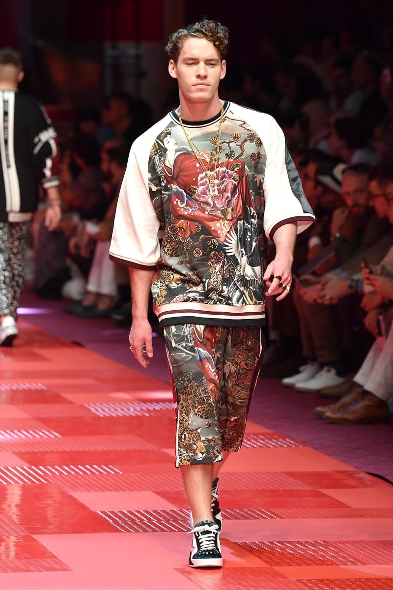 Tyler Clinton walking runway in streetwear