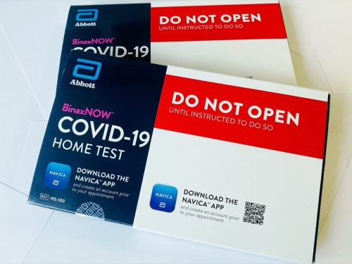 Lancaster, Ohio: USA - March 2021 COVID-19 at home test kits