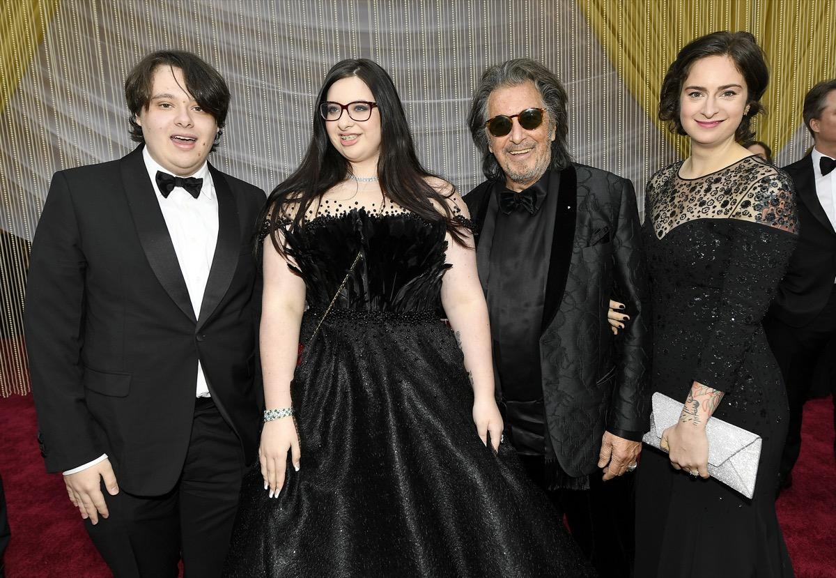 Anton Pacino, Olivia Pacino, Al Pacino, and Julie Pacino in 2020