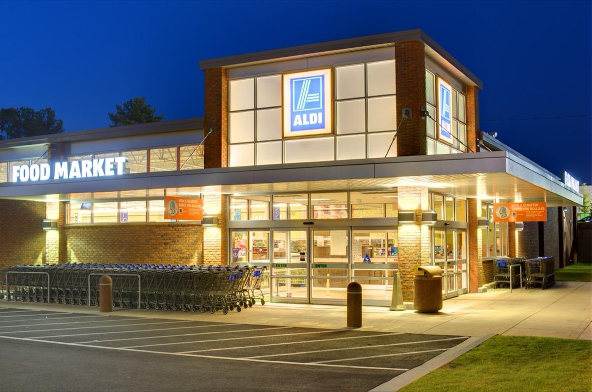 aldi store exterior at night