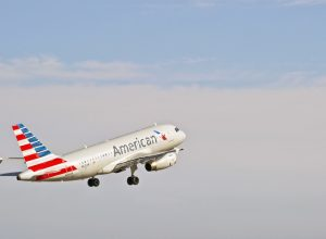 SANTA ANA/CALIFORNIA - AUG. 17, 2015: American Airlines Airbus 319-132 commercial jet departs from John Wayne International Airport in Santa Ana, California, USA