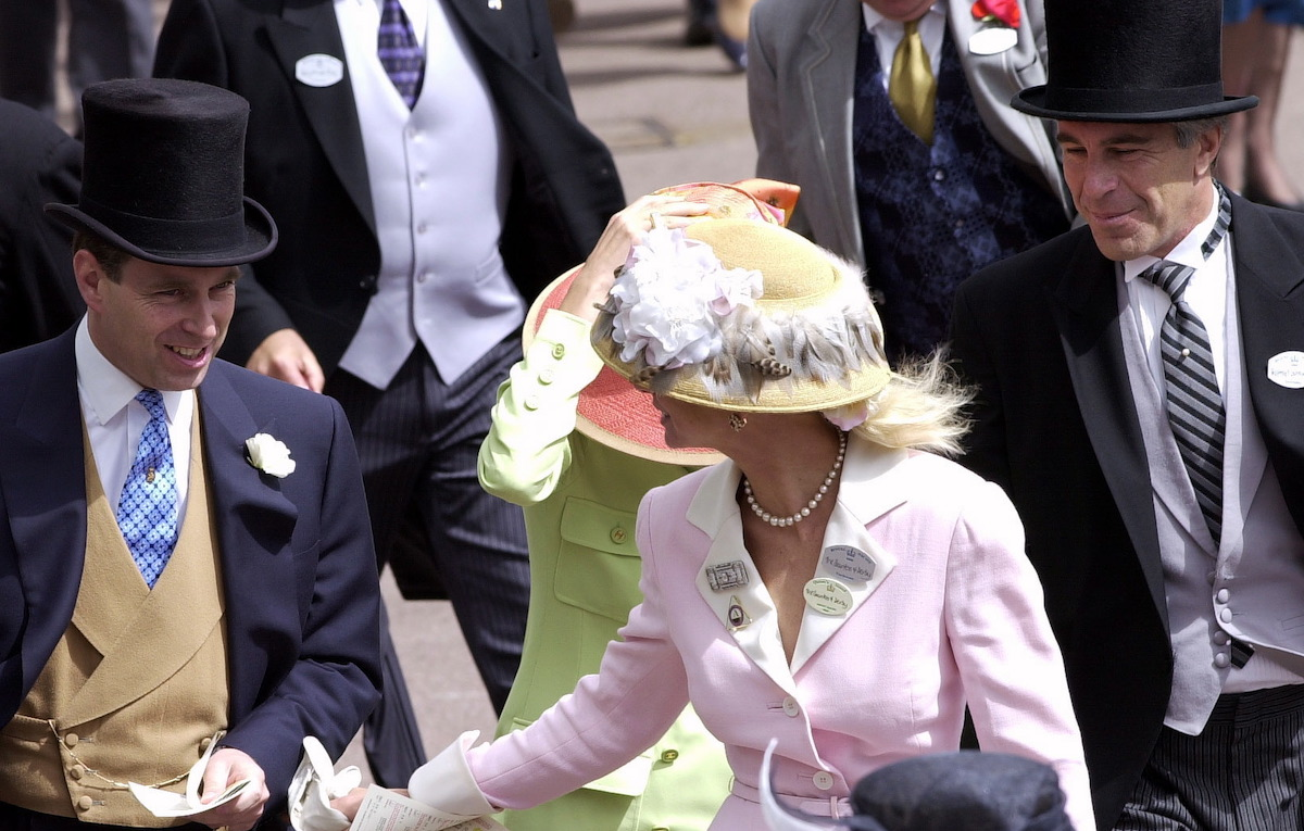 Prince Andrew, The Duke Of York and Jeffrey Epstein (far right) At Ascot.