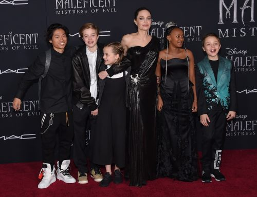 Pax, Shiloh Jolie-Pitt, Vivienn, Angelina Jolie, Zahar and Knox Jolie-Pitt in 2019