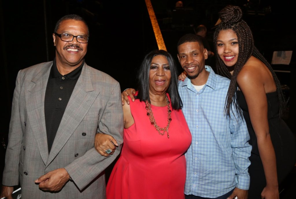 Willie Wilkerson, Aretha Franklin, Kecalf Cunningham, and Victorie Franklin in 2015