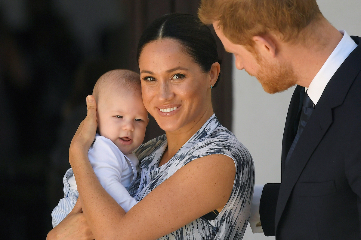 Britain's Prince Harry and his wife Meghan, Duchess of Sussex, holding their son Archie,