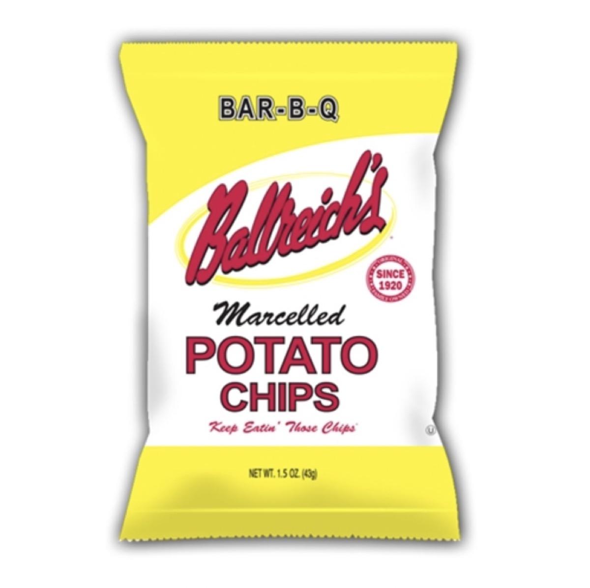 yellow bag of ballreich bar b q potato chips