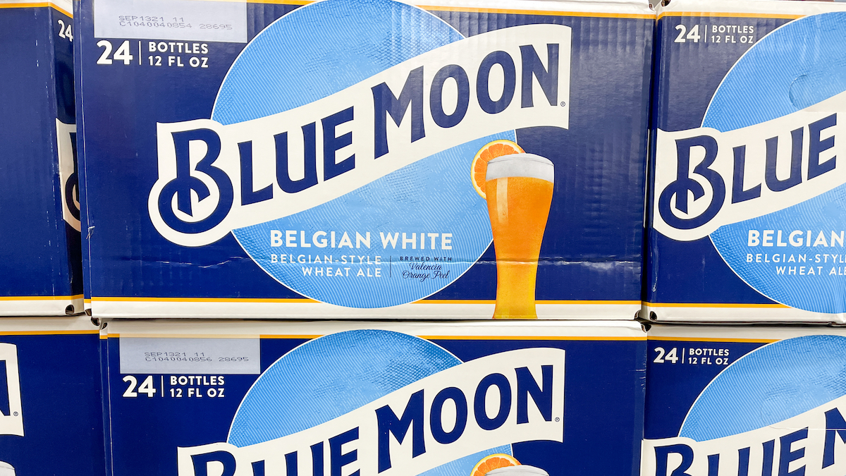 Cases of Blue Moon Belgian White Ale Beer at a Sam's Club store in Orlando, Florida.