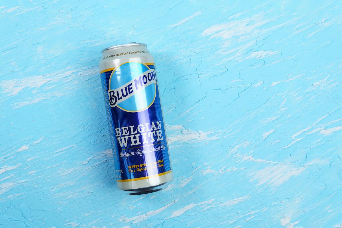 Blue Moon can belgian white beer, brewed by MillerCoors