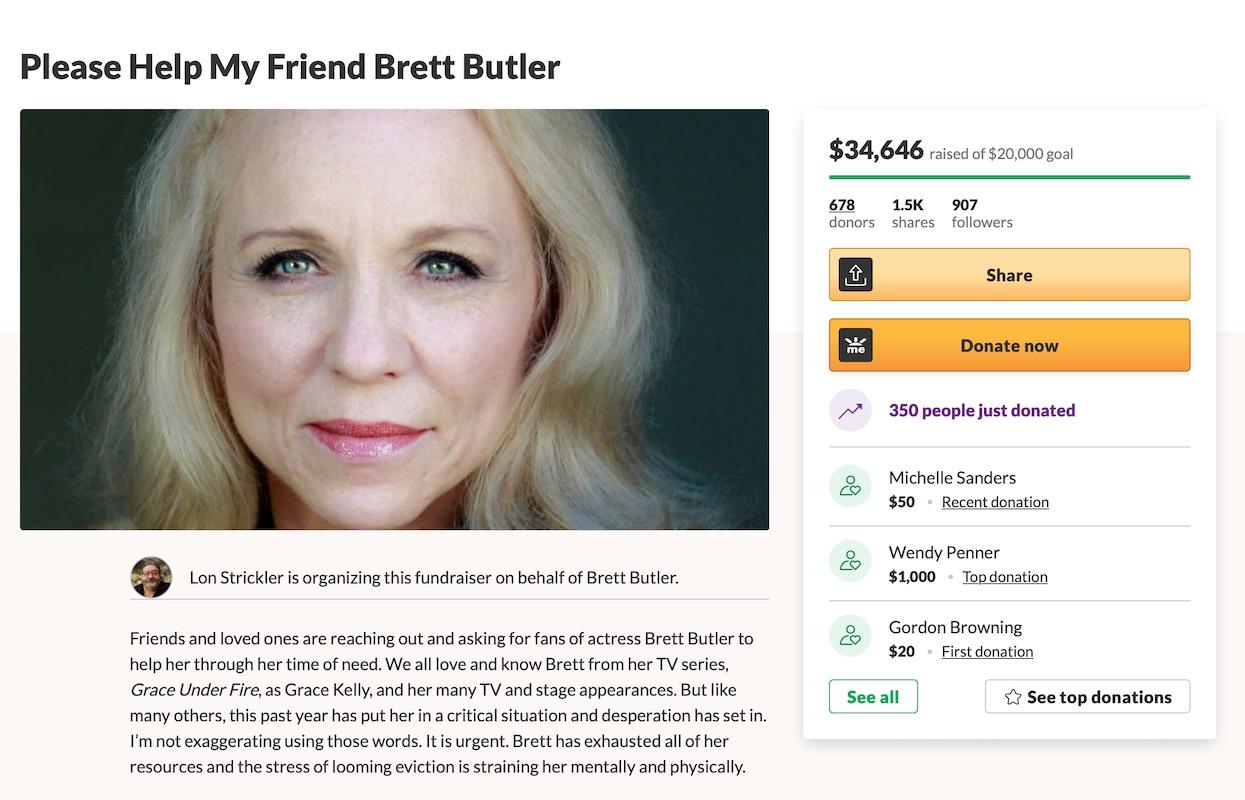 Brett Butler posts GoFundMe amid risk of eviction in 2021