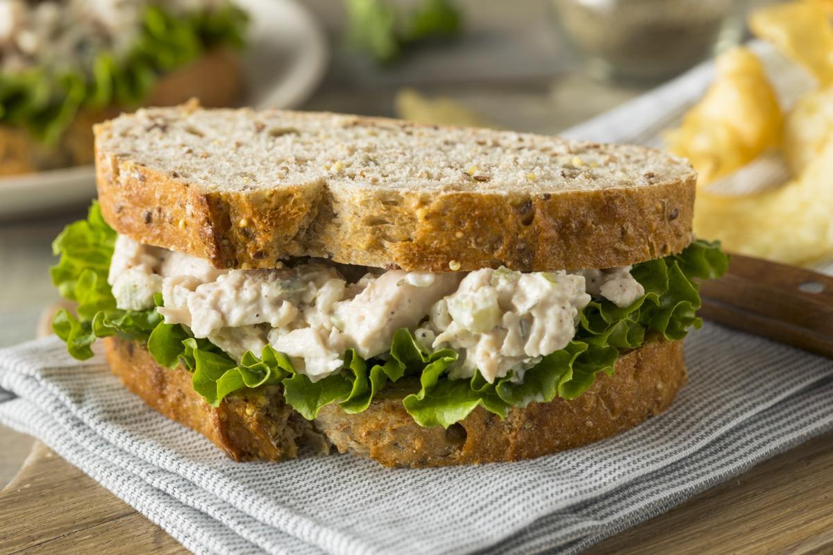 chicken salad sandwich on napkin