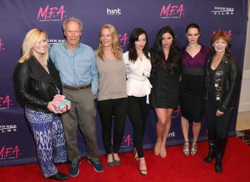 Kathryn Eastwood, Clint Eastwood, Alison Eastwood, Francesca Eastwood, Morgan Eastwood and Francis Fisher in 2017