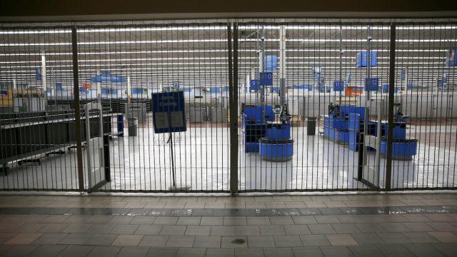 A locked gate at Walmart