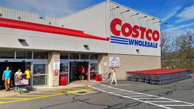 Costco retail wholesaler, people shopping entrance and exit, Danvers Massachusetts USA, May 5, 2018