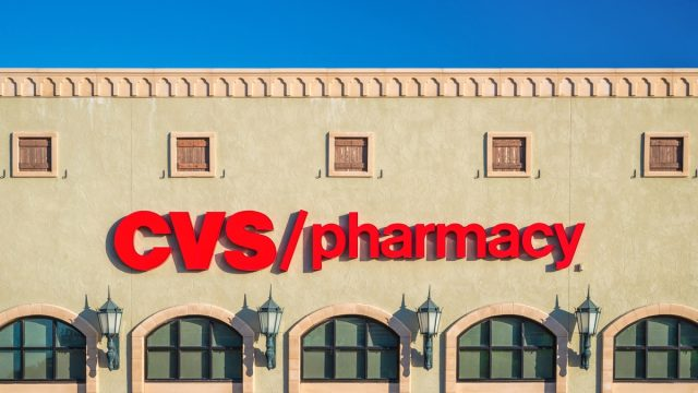 WESTLAKE, TEXAS - OCTOBER 27, 2019: CVS Pharmacy store exterior and sign. CVS Pharmacy is a subsidiary of the American retail and health care company CVS Health.