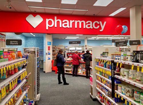 CVS drugstore pharmacy prescriptions pick up counter, Revere Massachusetts USA, January 9, 2019