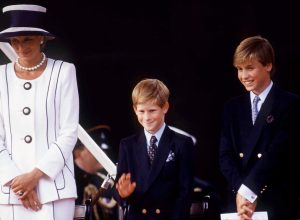 Princess Diana, Prince Harry, And Prince William Watching The Parade Of Veterans On V J Day, The Mall, London.
