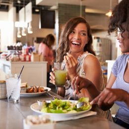 Women eating indoors together