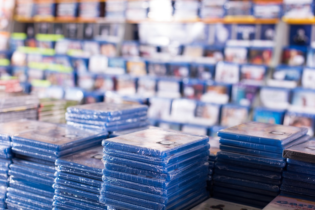 stacks of dvds in a store