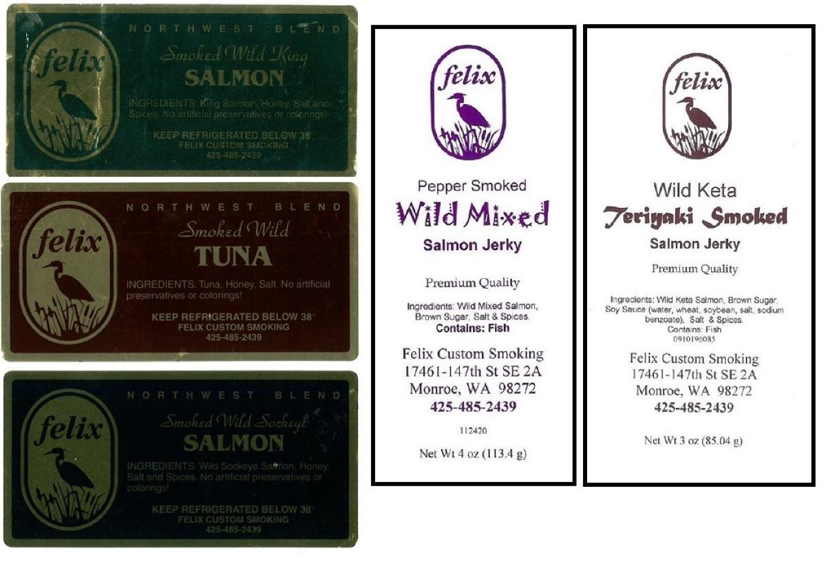 felix custom smoked fish labels
