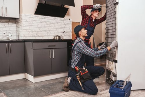 Two handymen with refrigerator. men mechanics checking refrigerator with screwdriver. They assist each other. Side view