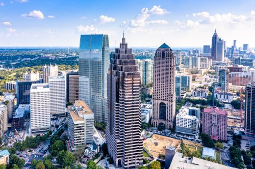 Aerial view downtown Atlanta skyline, done with 360 degrees image