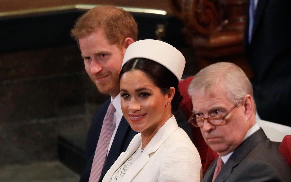 Britain's Prince Harry, Duke of Sussex, Britain's Meghan, Duchess of Sussex and Britain's Prince Andrew, Duke of York