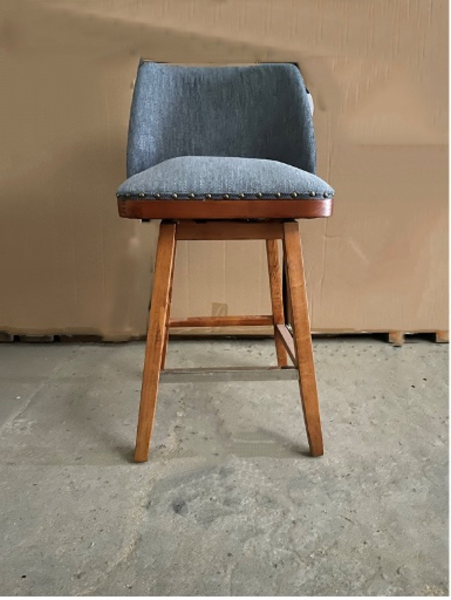 gray stool with wooden legs and metal rivets