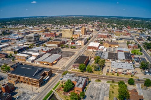 Aerial View of Downtown Hutchinson, Kansas in Summer