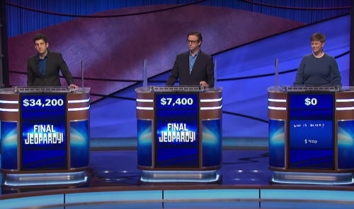 Matt Amodio and fellow contestants during Final Jeopardy on August 2, 2021