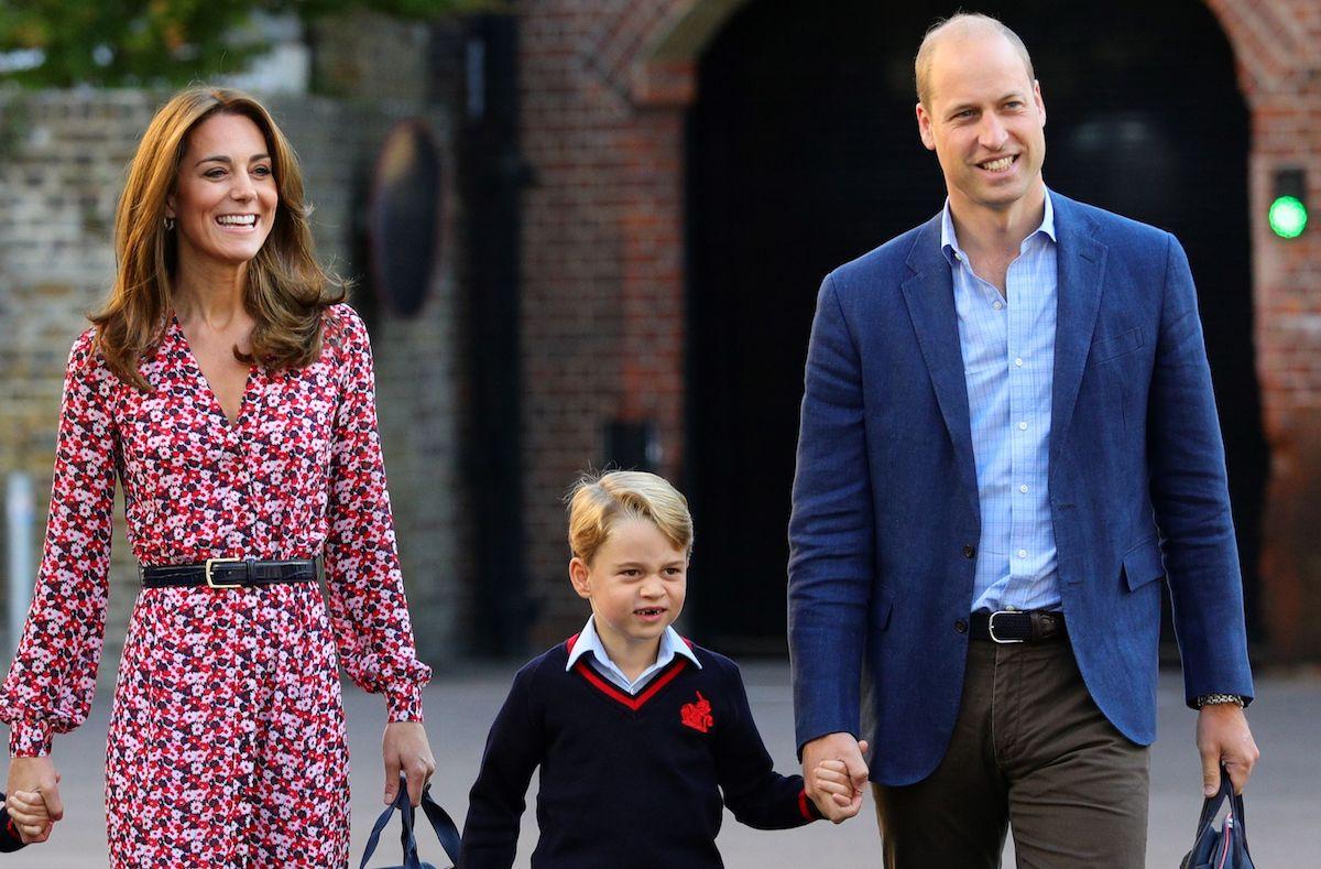 Prince William, Duke of Cambridge, Catherine, Duchess of Cambridge and Prince George of Cambridge at Thomas's Battersea in London on September 5, 2019.