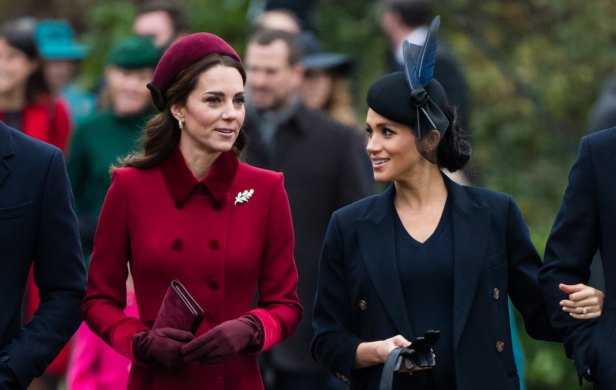 Catherine, Duchess of Cambridge and Meghan, Duchess of Sussex on Christmas Day at the Sandringham estate on December 25, 2018 in King's Lynn, England.