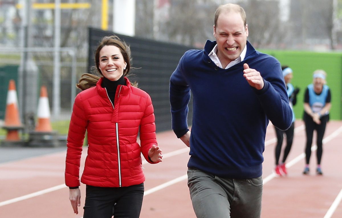 Catherine, Duchess of Cambridge, and Prince William, Duke of Cambridge race during a Marathon Training Day with Team Heads Together at the Queen Elizabeth Olympic Park on February 5, 2017 in London, England.