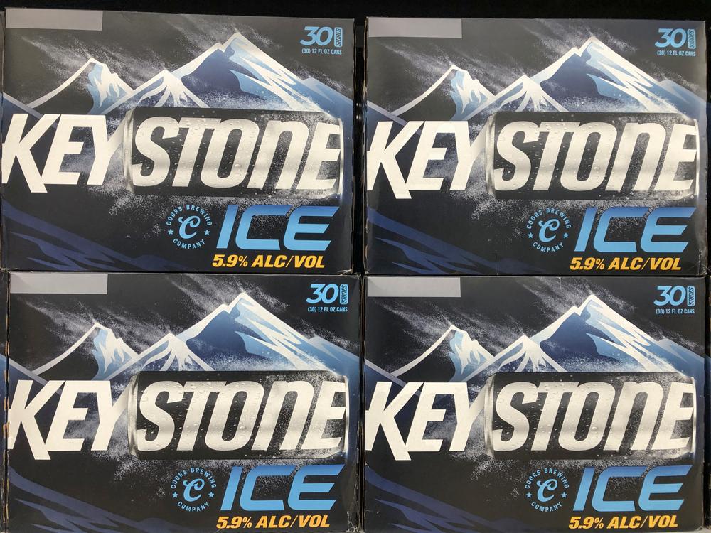 Cases of Keystone Ice beer