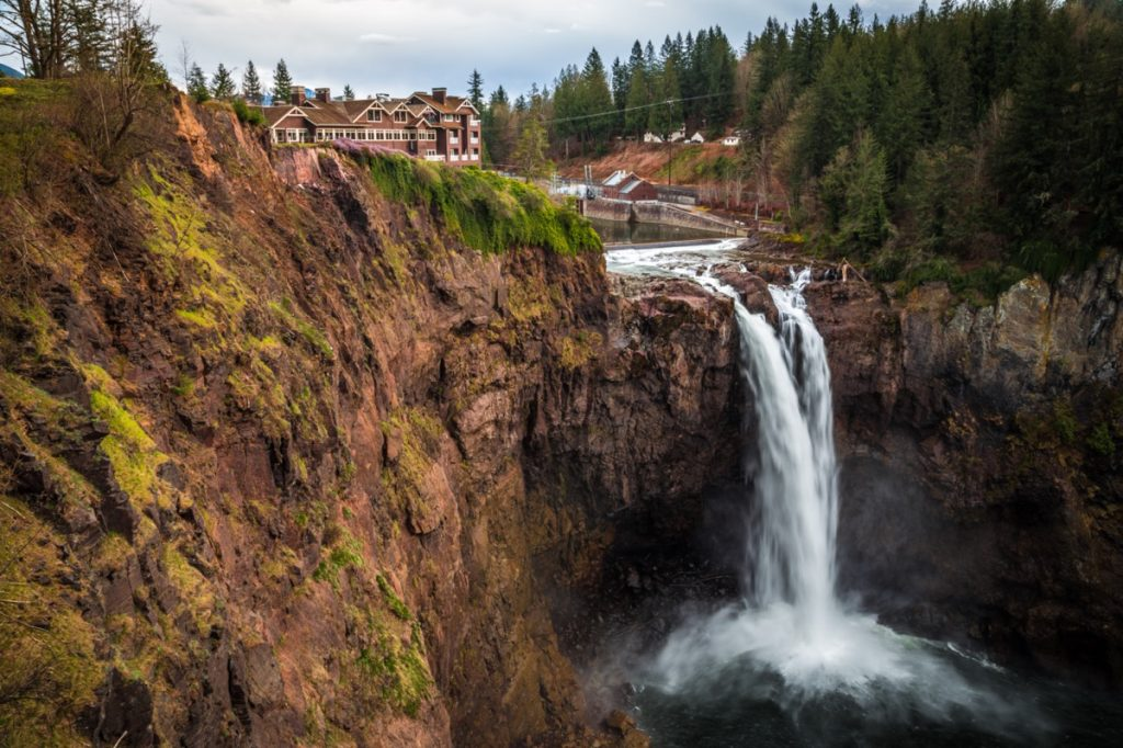 a waterfall and house in King County, Washington