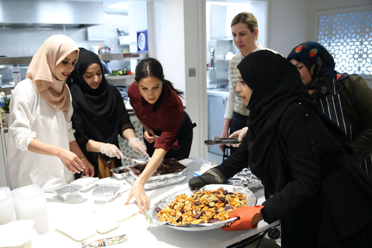 Meghan, Duchess of Sussex visits the Hubb Community Kitchen in London on November 21, 2018 to celebrate the success of their cookbook