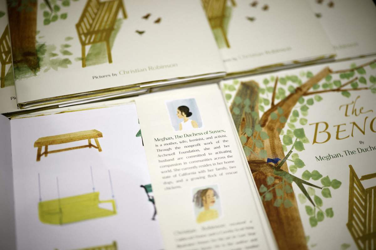 A detail from the children's book 'The Bench' by Meghan, Duchess of Sussex, which is inspired by her husband Harry and her son Archie, is pictured on display in a bookshop in London on June 8, 2021, following its release.