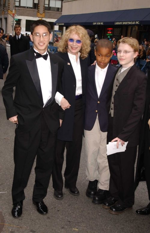 Mia Farrow and her kids in 2002