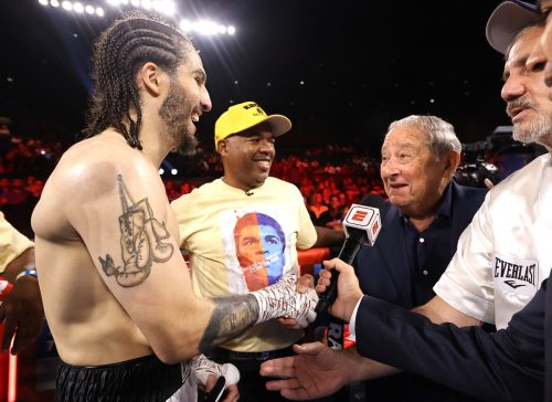Nico Ali Walsh and Bob Arum in the rink